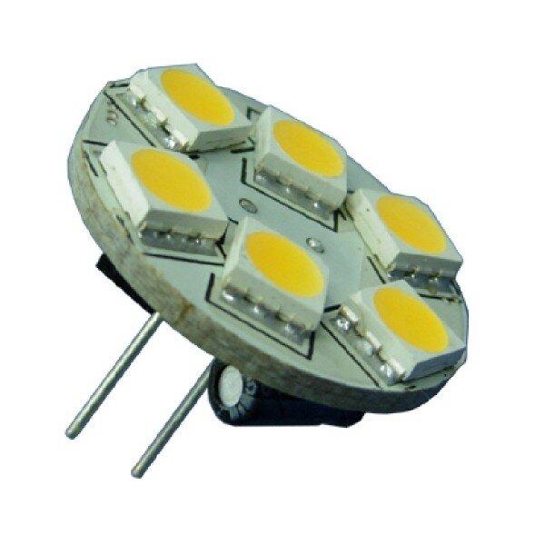 MR11/GU4 LED verlichting 6 SMD Warm wit pins achter