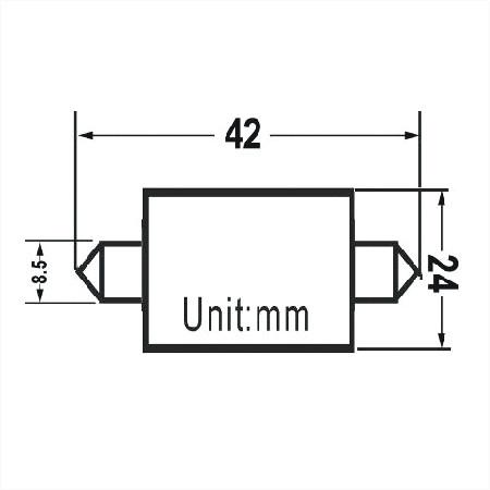 LED S8 Festoon Buislamp 9 SMD Warm wit