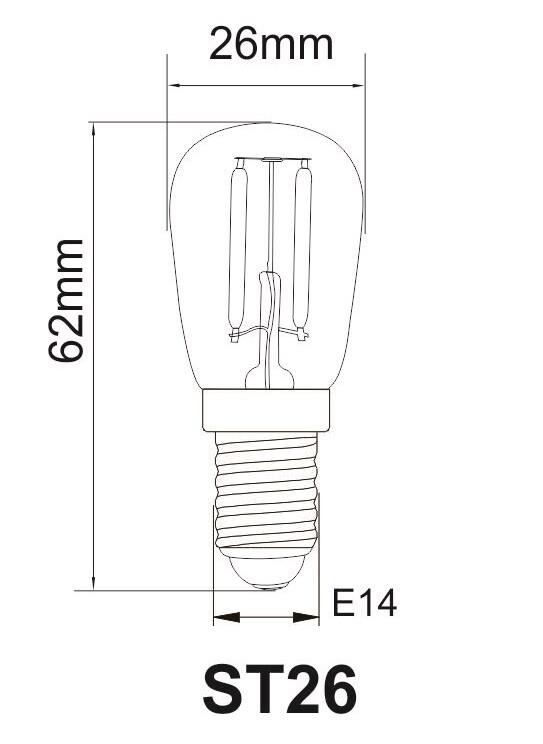12v en 24v E14 koelkast lampje T26 Afmetingen